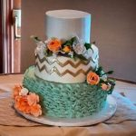 Gold and Mint wedding cake with chevron