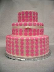 Simple pink fondant wedding cake