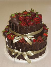 Tiered Chocolate Slabs and Berries Cake