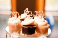 White Chocolate, Pink Champagne, and Grandma Mavis's Chocolate Wedding Cupcakes Swirled with Royal Buttercream Icing