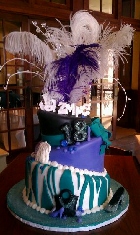 Check out Jasmin's Sassy Topsy Turvey Feather Cake!!
