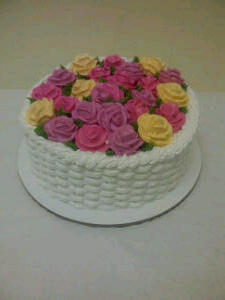 Basketweave and Roses Cake