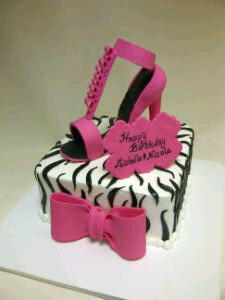 Zebra stripe and Stiletto cake