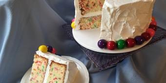 funfetti with gumballs cake