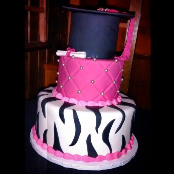cute zebra pink and grad cap cake from the makery