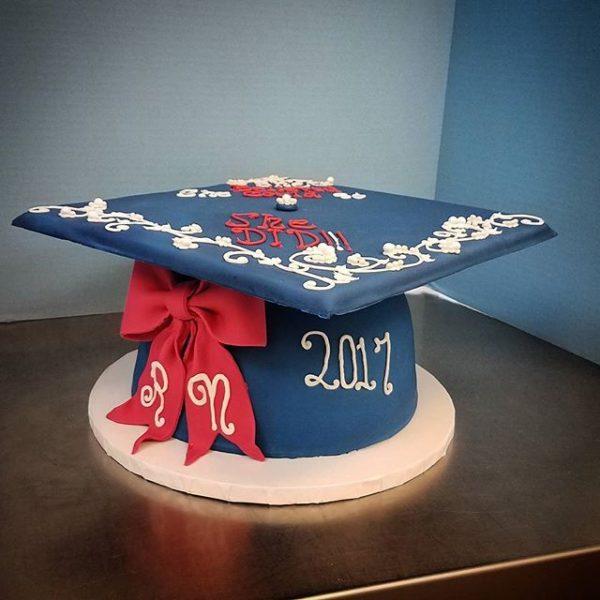 A fancier twist on a graduation cap cake. Better presentation and a lovely sentiment.