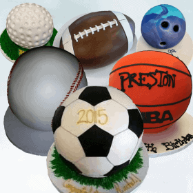 Different Ball Shaped Cakes Includes Soccer, Baseball, Basketball, Football, Golf Ball, and Bowling Ball