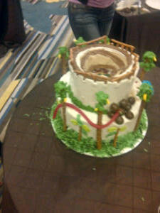 Team one's excavated cake complete with vents and haul truck.
