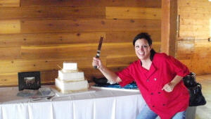 Kim defending Nick and Steve from boring wedding& groom's cakes at Chatfield Botanic Gardens July 23