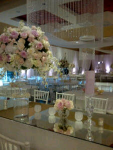 Wow, this looks like designworks! -what I said when I saw this soft pink and white wedding set up.