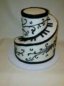 I don't think it helped that this awesome spiraled music cake was the wedding cake!