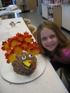 Kids 3D Turkey Cake decorating class