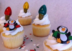 Christmas light and penguin cupcakes