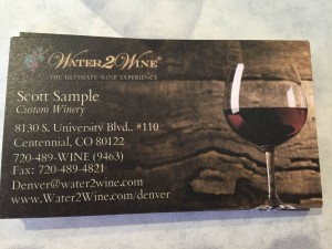 water to wine business card