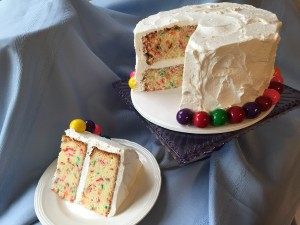 funfetti with gumballs cake