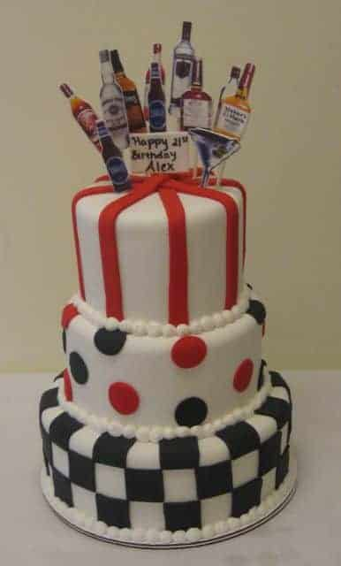 Wondrous 21St Birthday Tiered Cake With Liquor Bottles Popping Out The Top Funny Birthday Cards Online Alyptdamsfinfo