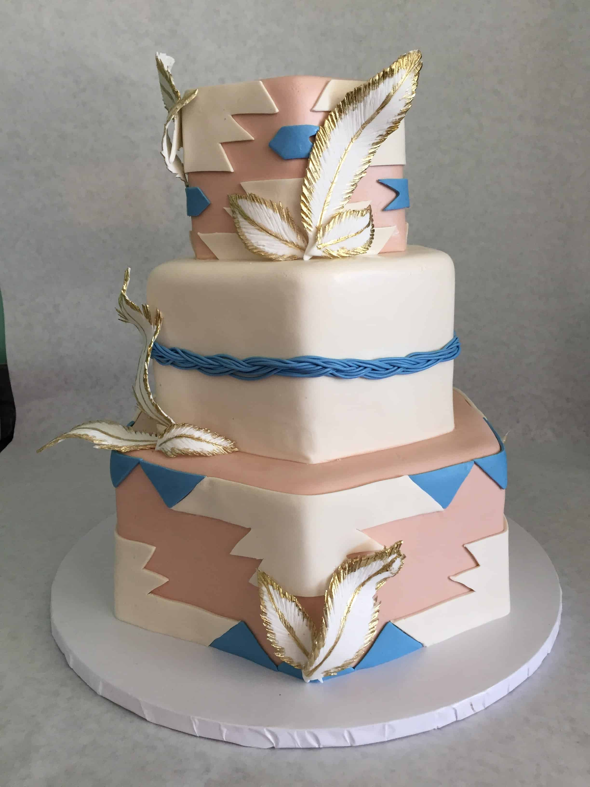 American Indian Blanket and Feather Cake with Gold Accents