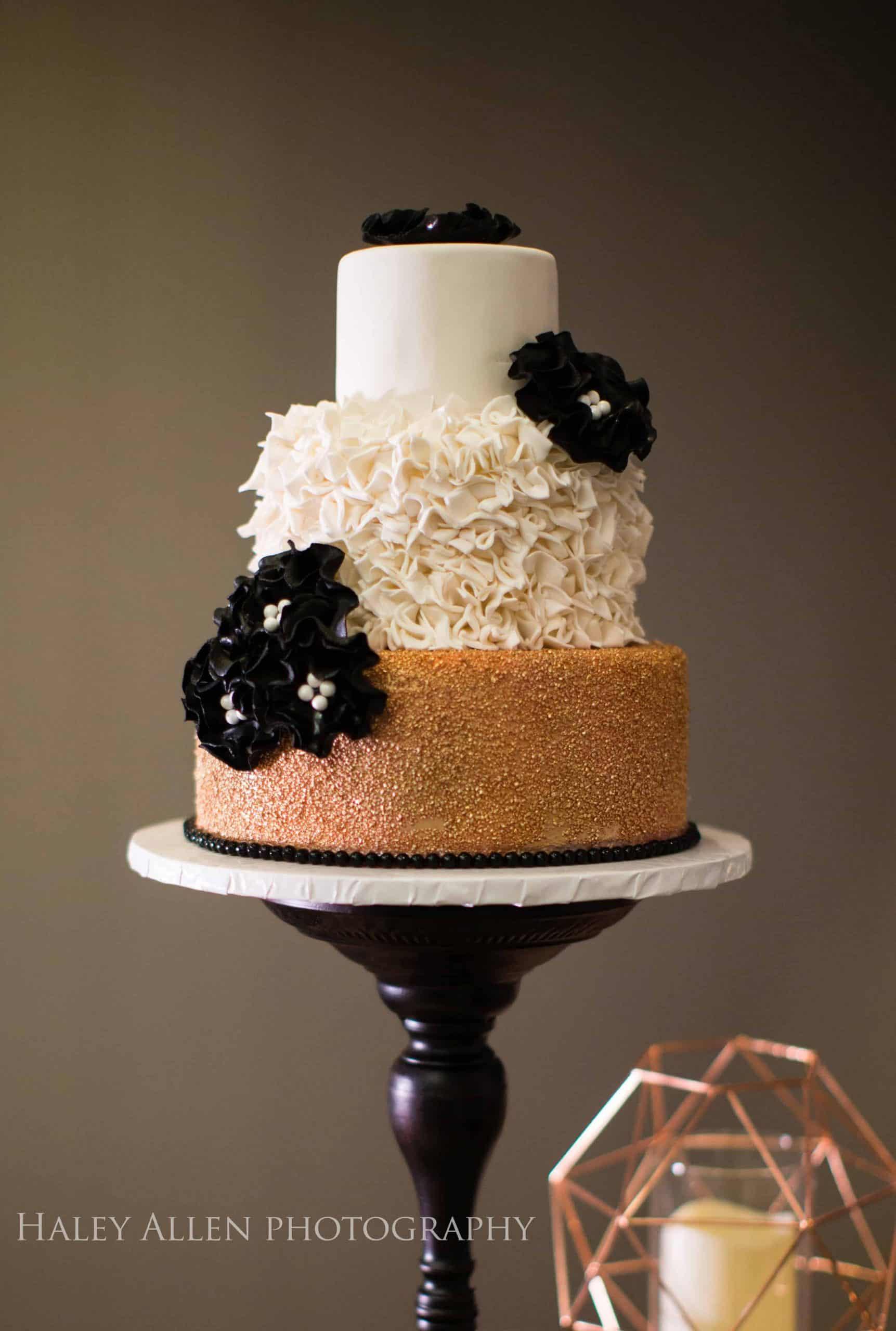 Black White and Rose Gold Bridal Shower Cake
