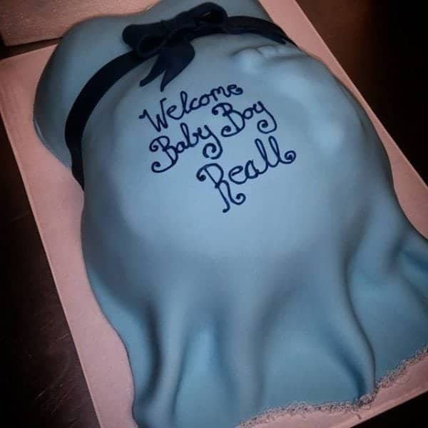 Blue Baby Belly Cake With Foot