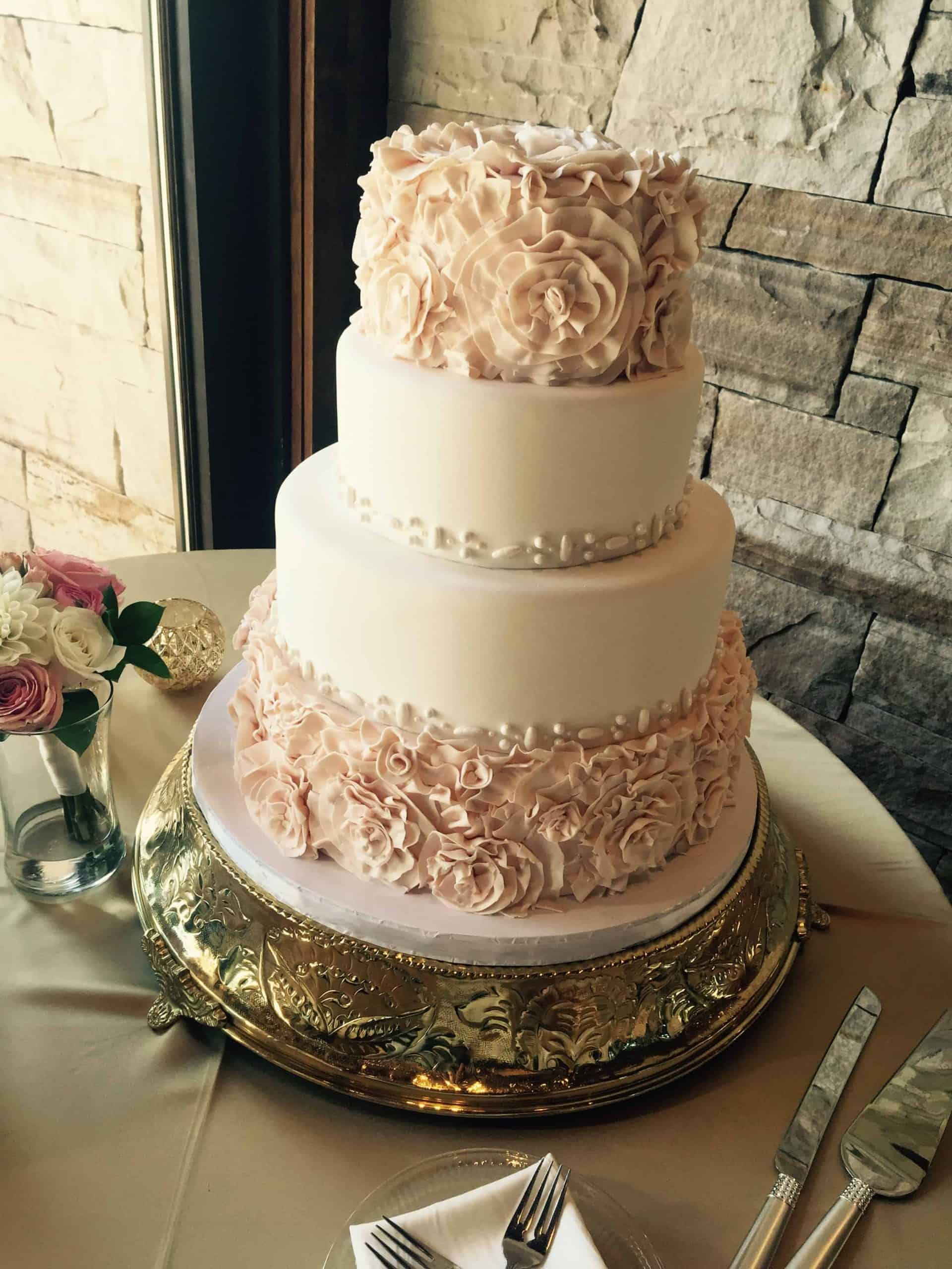 The Makery Cake Company Blush Rosette Ruffle Wedding Cake