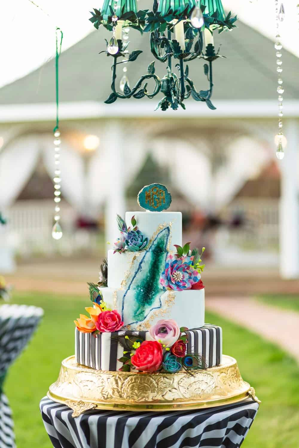 Bohemian Wedding Cake with Geode and Stripes