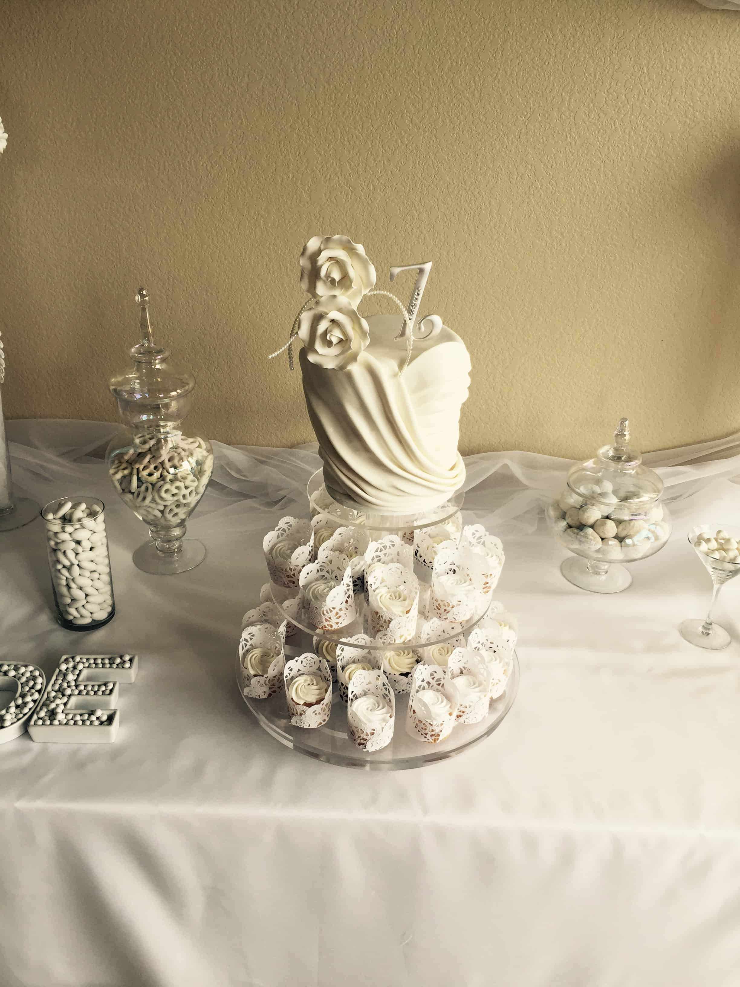 Bridal Gown Bodice and Cupcake