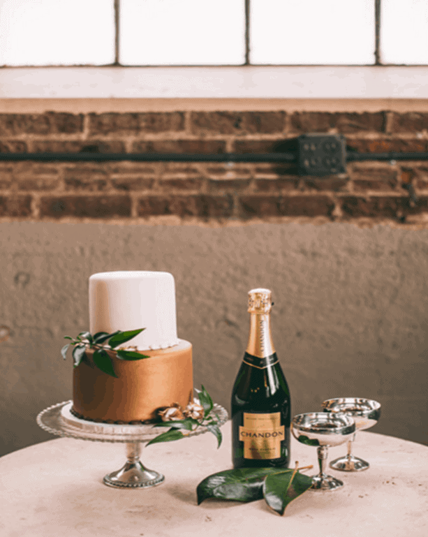 The Makery Cake Company Champagne and Roses Wedding Cake