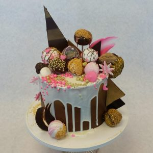 The Makery Cake Company Chocolate and Pink Drip Cake