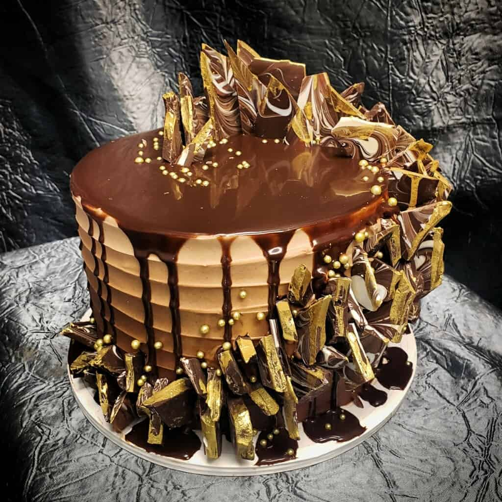 The Makery Cake Company Chocolate and Gold Spikes Cake