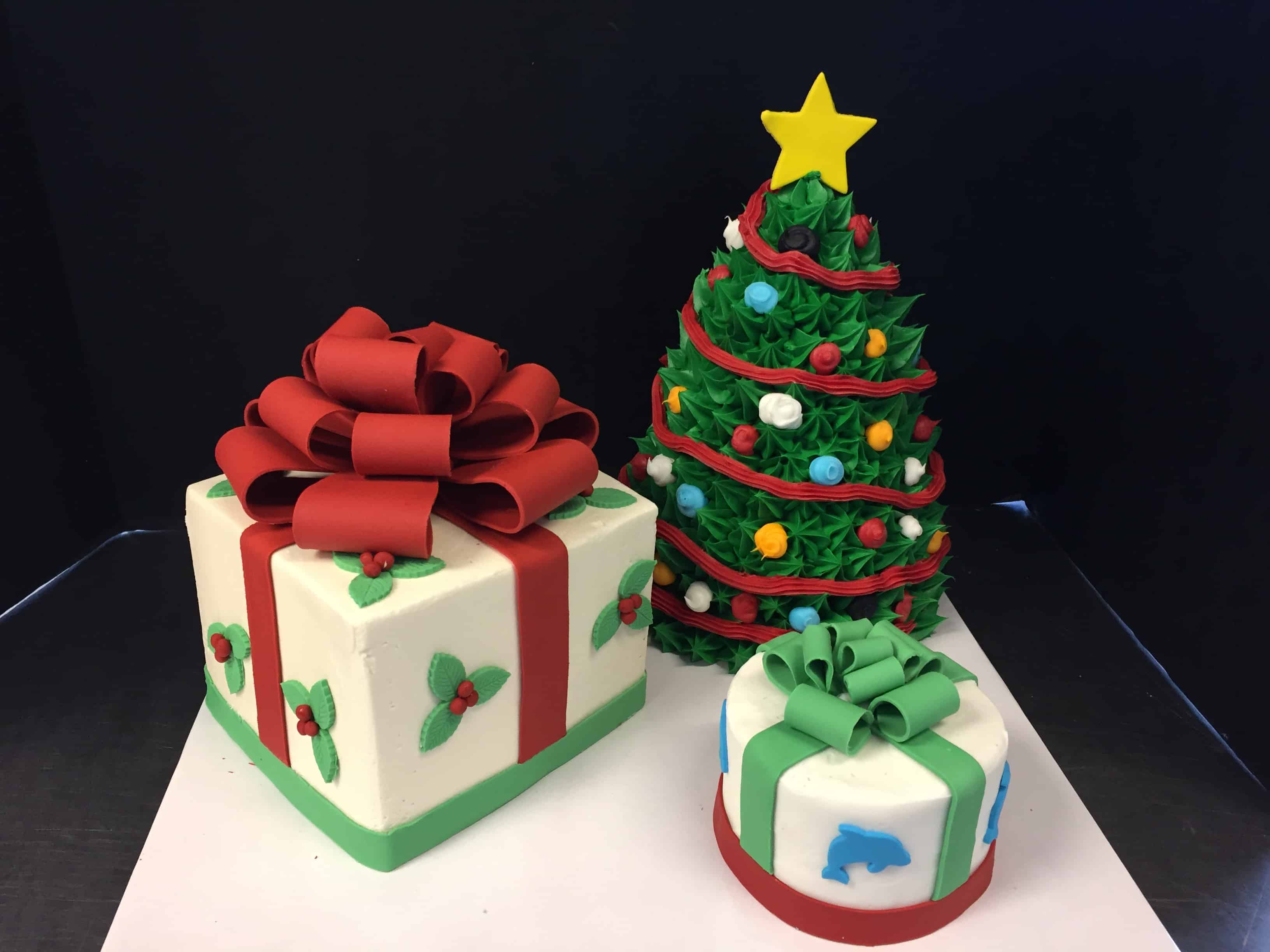 Christmas Tree Cake and Package Cake