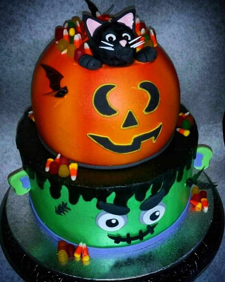 Cute Monster And Jackolantern Stacked Halloween Cake The