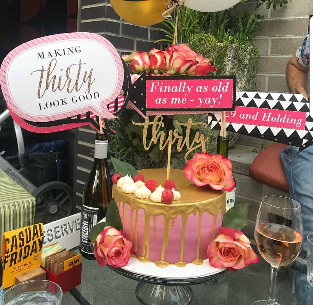 The Makery Cake Company Drip Cake with Gold and Pink Cake