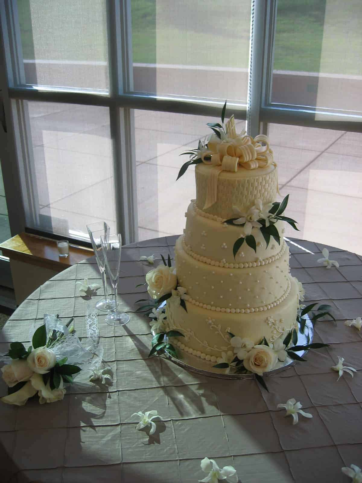 Fondant Basket Weave Wedding Cake with Bow on Top