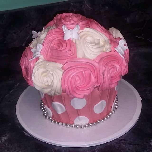 Giant Cupcake Pink and White with Butterflies