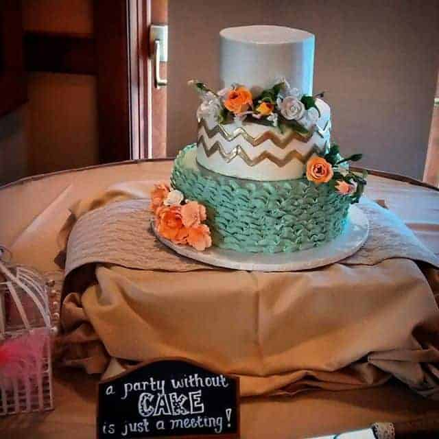 The Makery Cake Company Gold Cheveron and Mint Wedding Cake