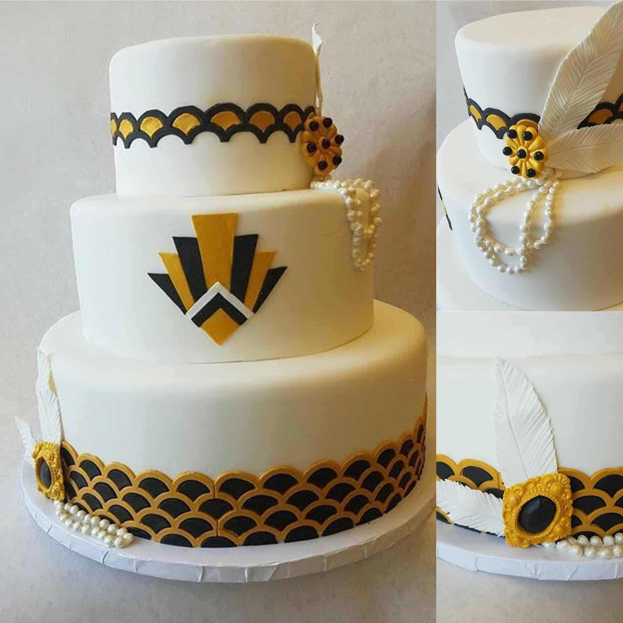 Great Gatsby Themed Black and Gold Cake