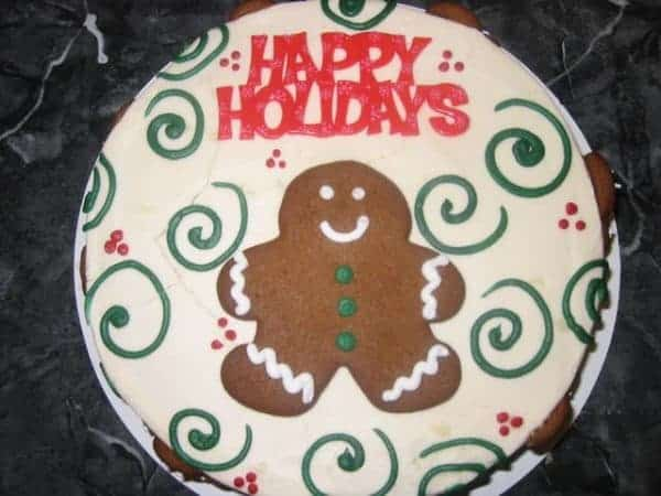Holiday Gingerbread Cookie on a Cake
