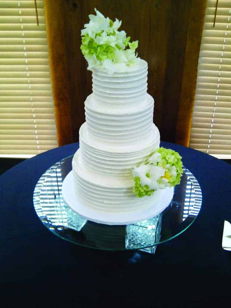 The Makery Cake Company Horizontal Striped Wedding Cake