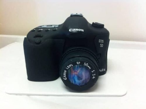 A cake in the shape of a Cannon Camera
