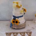 The Makery Cake Company Lace and Sunflower Wedding Cake