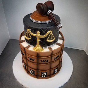 Law Graduation Tiered Cake with Gavel