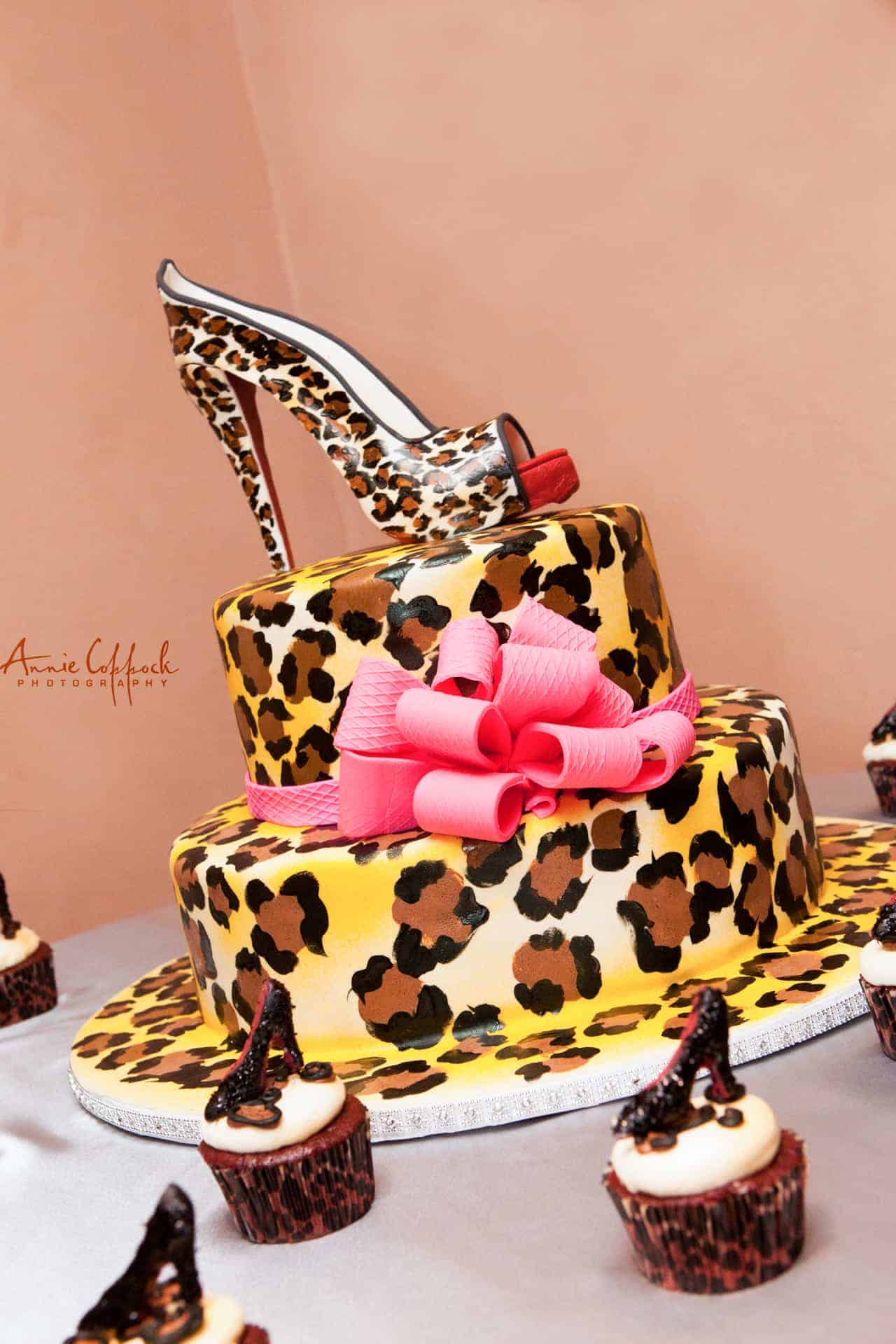 Leopard Print and High Heel bridal Shower Cake