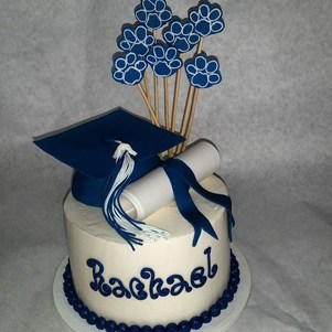 Mascot Print Graduation Cake with Cap and Diploma
