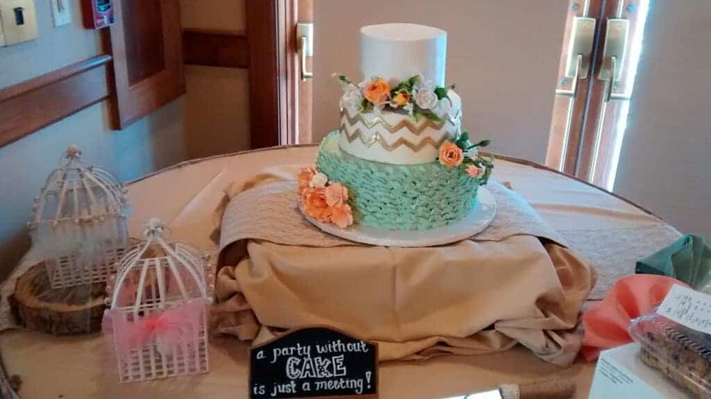 The Makery Cake Company Mint and Gold Chevron Cake
