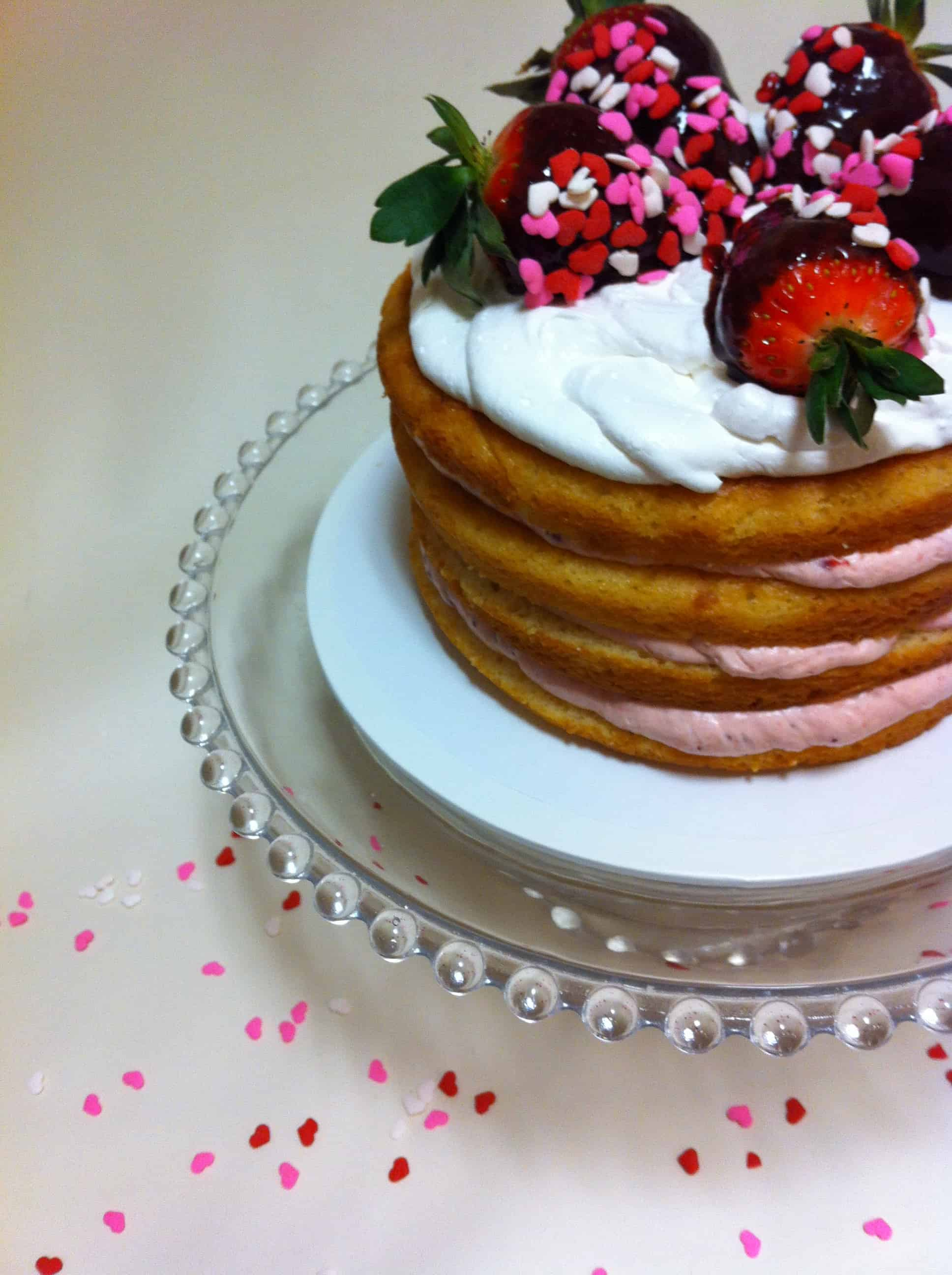Naked Cake with Dipped Strawberries Cake