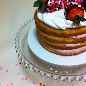 Naked Cake with Dipped Strawberries and Hearts