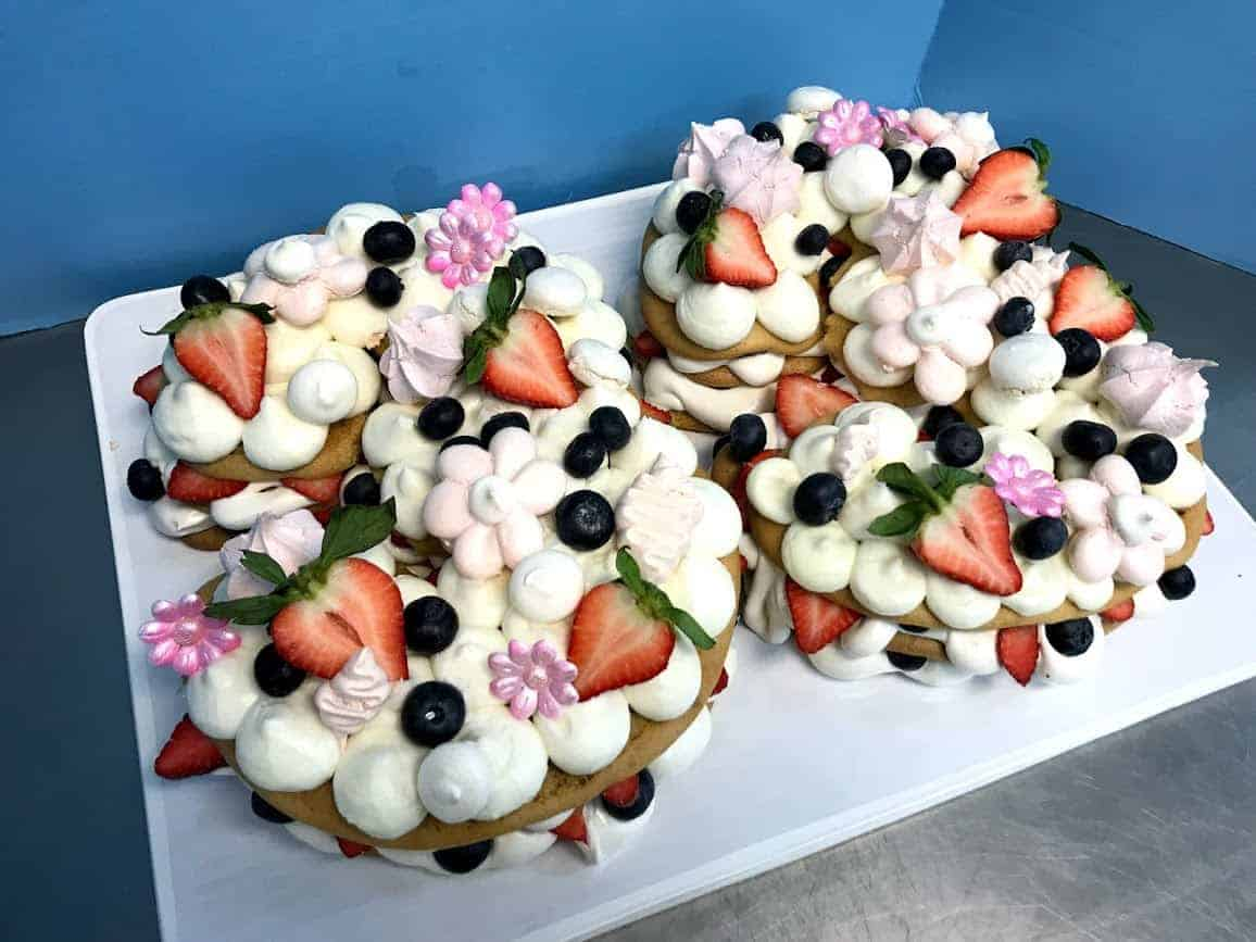 Number Naked Cake with Meringues Flowers and Fresh Fruit