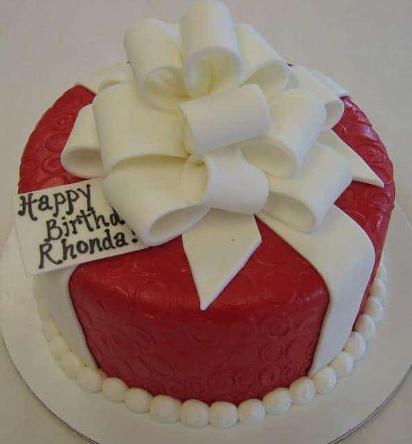Package Cake Done in Red with a White Bow