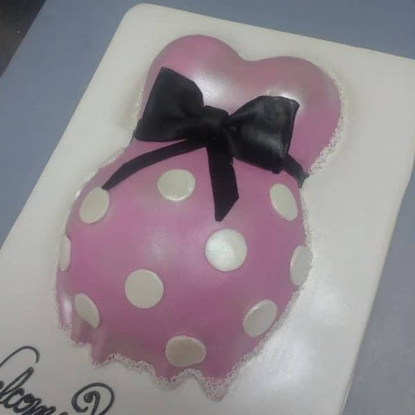 Pink and Black Baby Belly Cake
