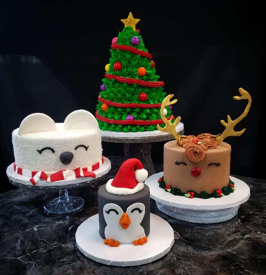 The Makery Cake Company Christmas Tree face Christmas Cakes